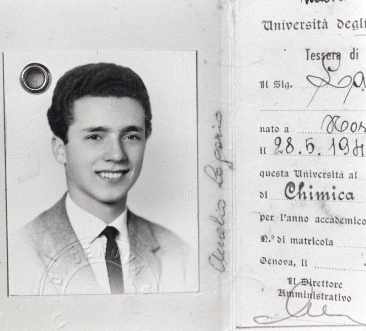 Aurelio Lagorio nella foto della tessera dell'università di Genova
